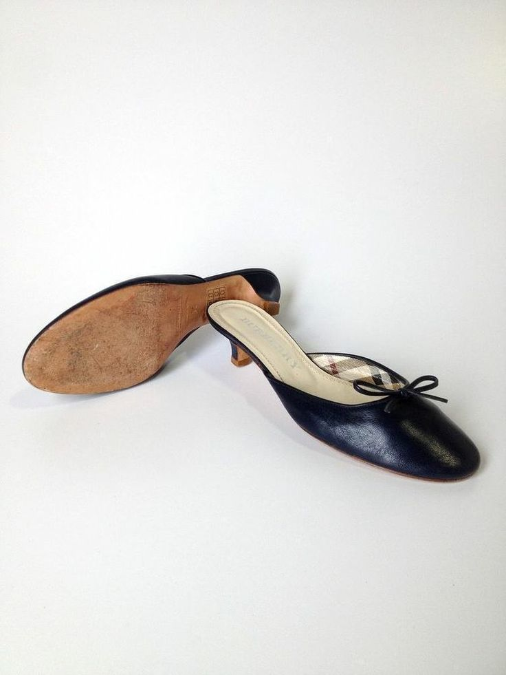 Women Navy Blue Burberry Kitten Heel Mule Slide Shoe Nova Check Lined Size 36 6