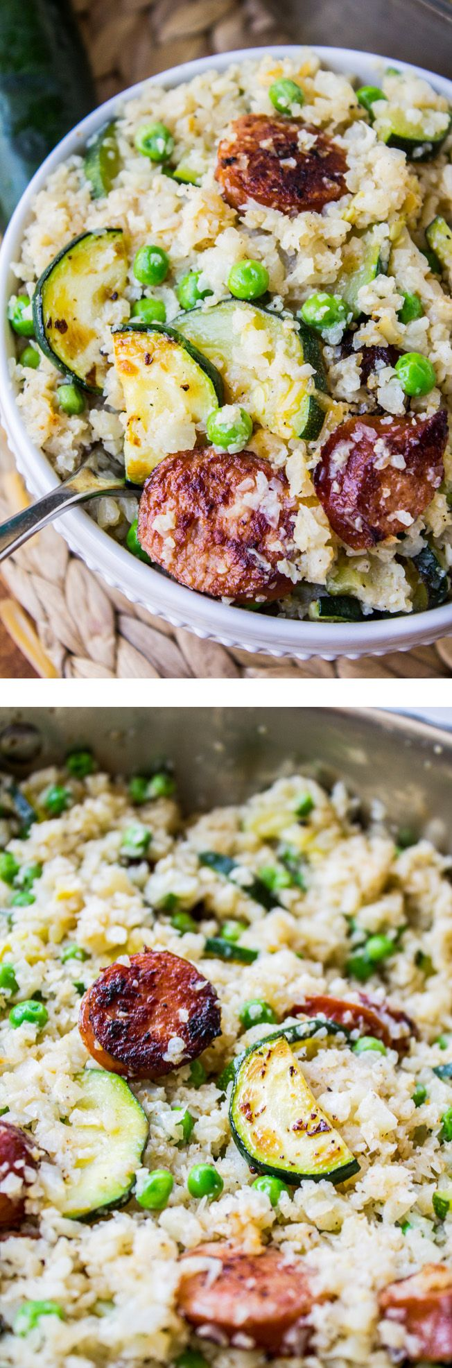 Cauliflower Rice Skillet with Zucchini and Kielbasa - This is the one-pot low-carb dinner you've been waiting for! It's an easy and healthy skillet-meal, perfect for a weeknight.