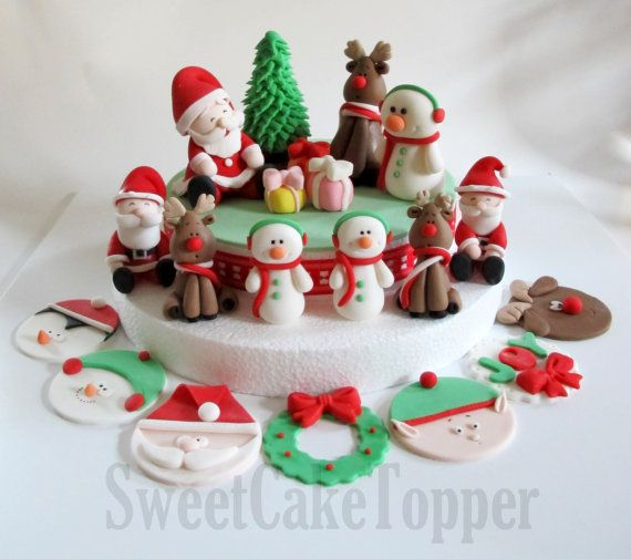fondant+christmas+cakes | Christmas Fondant Cake Topper Set - Homemade Edible Cake Topper - 1 ...