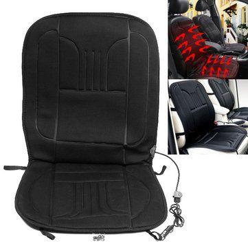 12V Black Car Van Front Seat Cover Heating Cushion Heated Pad Winter Auto Interior Warmer