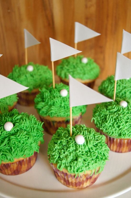 Just a Sliver: Father's Day Golf Cupcakes #fathersday #baking #golf #recipe