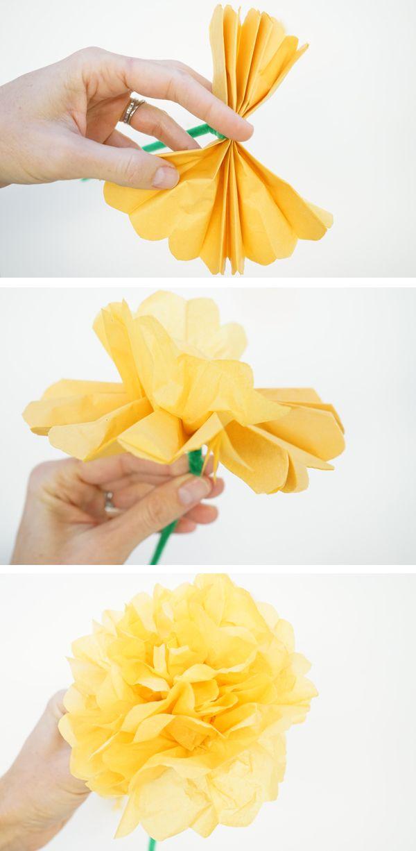 Simple DIY Paper Marigolds for Dia de los Muertos  |  TinkerLab.com