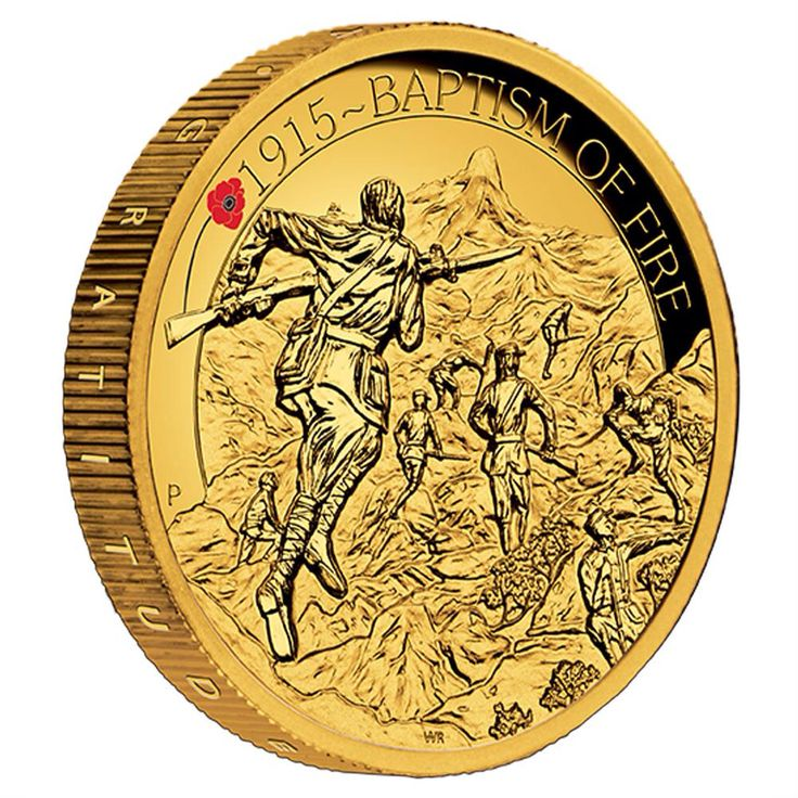 The ANZAC Spirit 100th Anniversary Coin Series - Baptism of Fire 2015 2oz Gold Proof High Relief.
