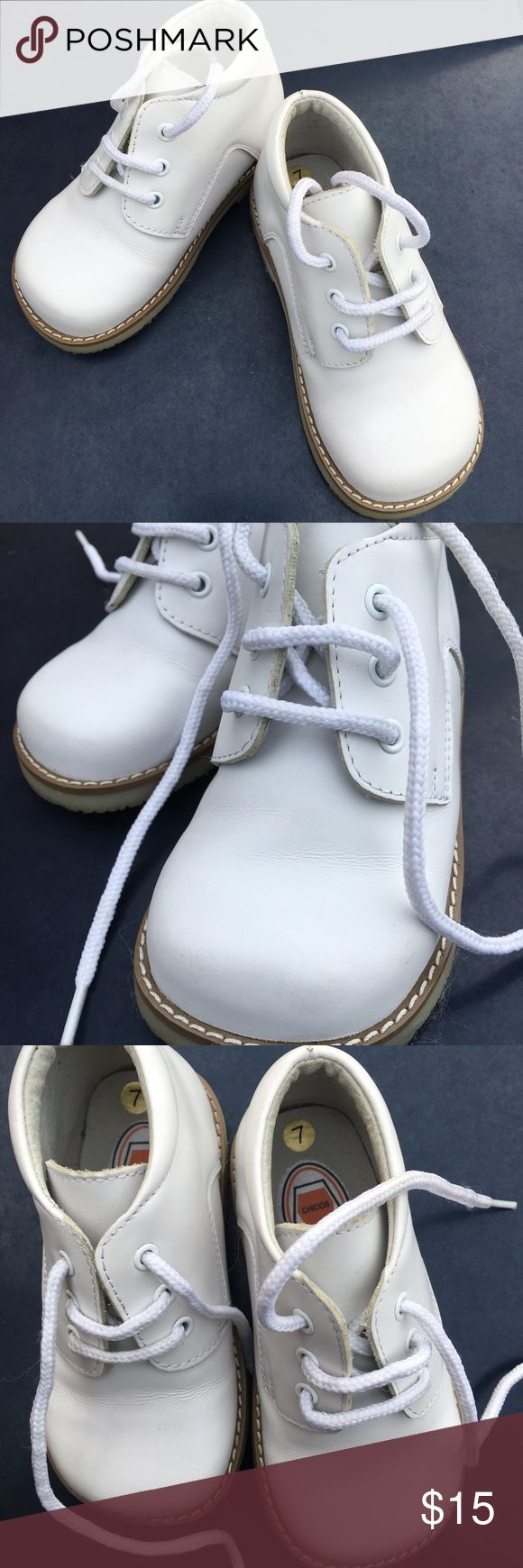 White Josmo Oxfords Dress up or down ankle height Oxfords. Leather upper and leather lining. Perfect walking shoe in excellent condition. These shoes will compliment an Easter outfit, Christening outfit or any special occasion as well. Chicos Shoes Dress Shoes