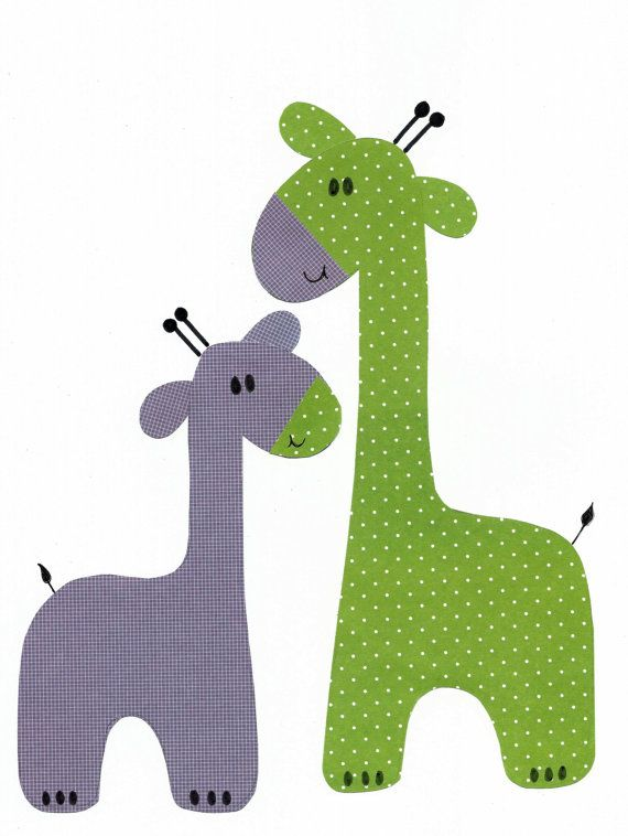 Purple and Green Giraffe Nursery Artwork by 3000yardsofthread, $14.00