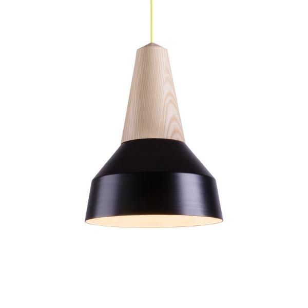 Lámpara de techo Eikon Basic Negra (Material: Fresno / Color del cable: Amarillo)