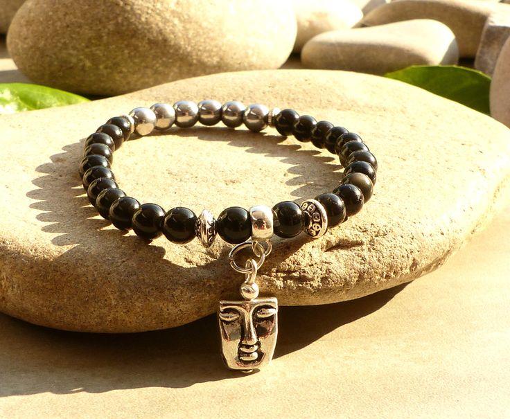 Bracelet en obsidienne noire et hématite, bracelet en obsidienne noire, bracelet hématite, bracelet moderne pierres naturelles : Bracelet par lapassiondisabelle