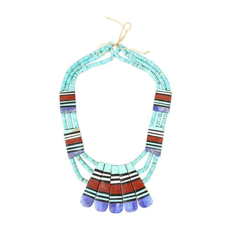 Santo Domingo Inlaid Turquoise Multi-Strand Necklace | From a unique collection of vintage multi-strand necklaces at https://www.1stdibs.com/jewelry/necklaces/multi-strand-necklaces/
