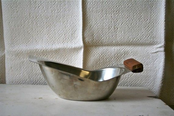 Vintage 1960s Swedish Modern Gravy Boat - Stainless Steel and Wood - $6.