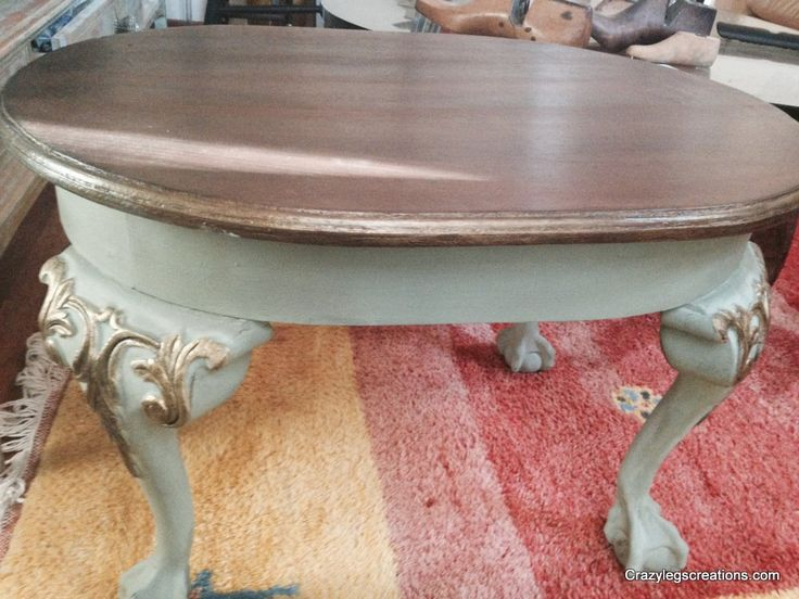 Small table painted by Crazy Legs Creations using Pure Earth Paint's Ozone, PEP Stain & Seal and Antique Gold Luminescence.