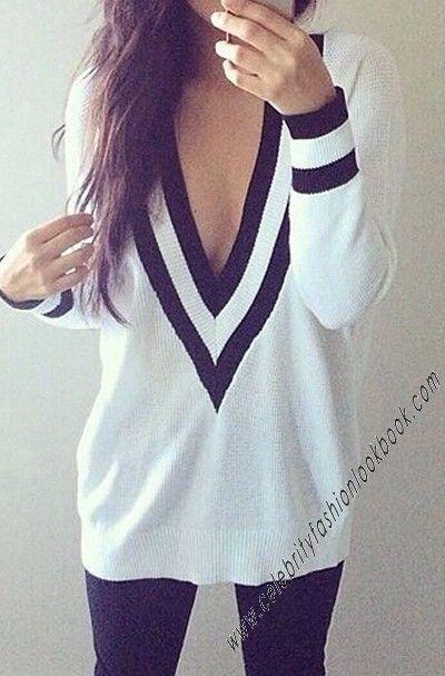 Preppy Deep V Sweater - #preppy #studentfashion #sweater #fashion
