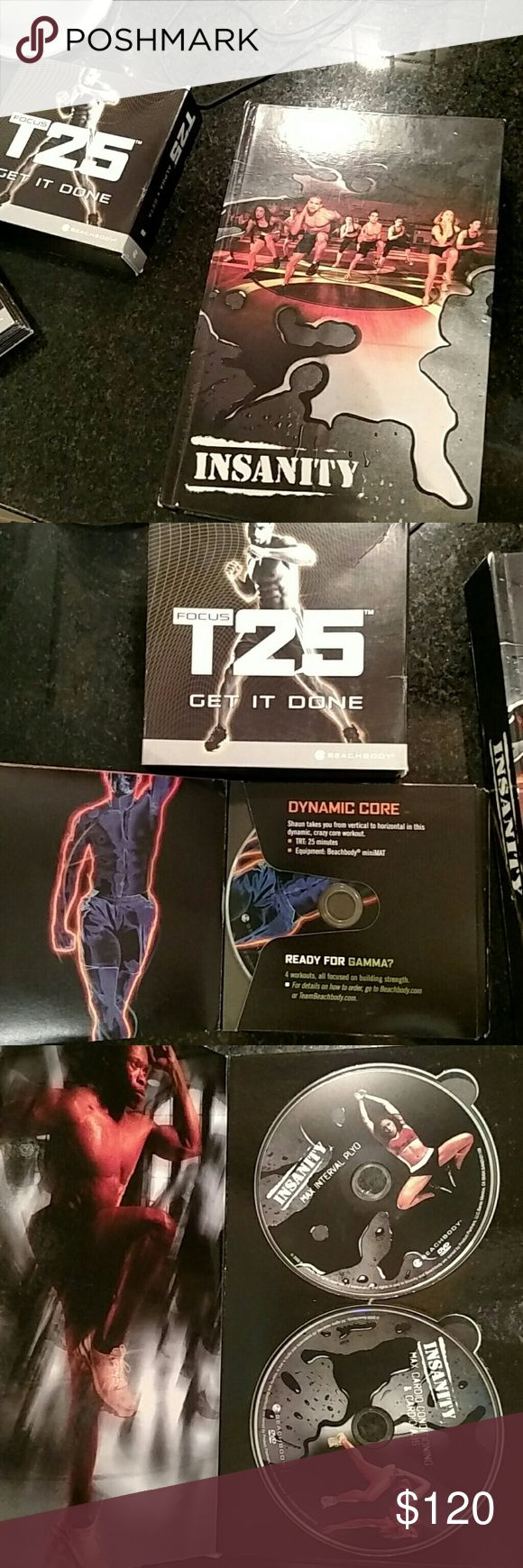 Insanity + T25 Beta + Elite Nutrition by Shaun T THE HARDEST WORKOUT PROGRAM EVER PUT ON DVD. Are you ready for the ultimate challenge? You can transform your body in 60 days with this total-body conditioning program. And you won't need equipment or weights—just the desire to dig deep and push past your limits.  In INSANITY®, Shaun T uses a method called Max Interval Training. You'll do cardio and plyometric drills with intervals of strength, power, resistance, and core training. **BOTH…
