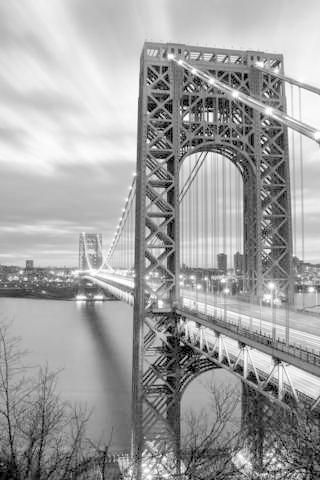 The George Washington Bridge (known informally as the GW Bridge,[4] the GWB,[5] the GW,[6] or the George[7]) is a double-decked suspension bridge spanning the Hudson River, connecting the Washington Heights neighborhood in the borough of Manhattan in New York City to Fort Lee, Bergen County, New Jersey, in the United States. Interstate 95 (I-95) and U.S. Route 1/9 (US 1/9) cross the river via the bridge. The New Jersey Turnpike (part of I-95) and US 46, which lie entirely within New Jersey…