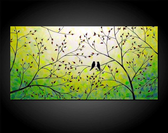 Bird in a tree painting - photo#21