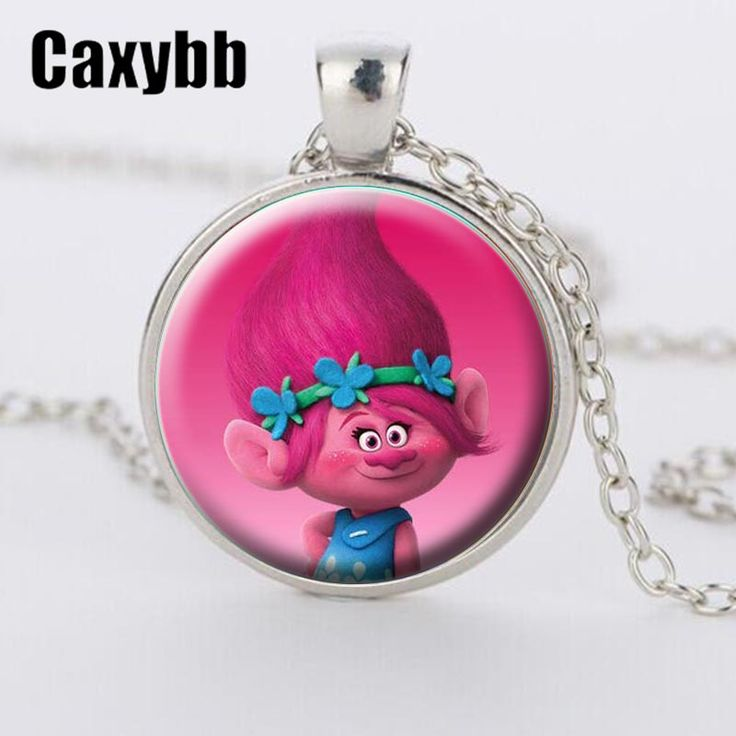 Caxybb New Style of Fairy Fancy Cute Silver Trolls Crystal Necklace Jewlery Body Long Chain Jewelry Cartoon For Child gift