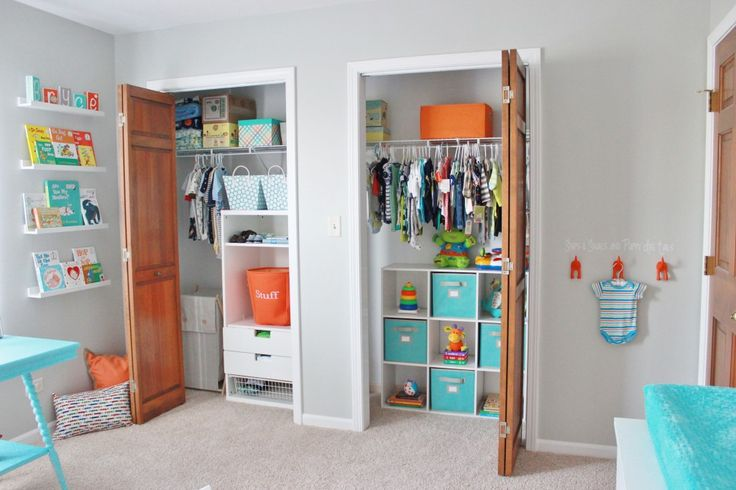 Project Nursery - Gray Striped Orange and Aqua Nursery Closet