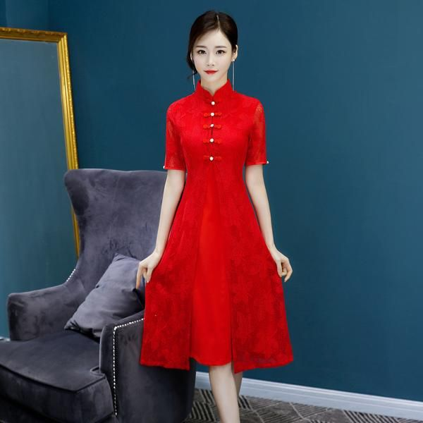 2018 New High Fashion Red/pink Chiffon Cheongsam Aodai Chinese Classic Womens Qipao Elegant Short Sleeve Novelty Long Dress Cheongsams Novelty & Special Use