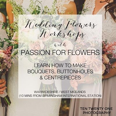 Do you know anyone doing their own wedding flowers? One of these workshops might be very useful. Email karen@passionforflowers.net for more info. DAY 1: BRIDAL FLOWERS WORKSHOP WHEN: Saturday 18th February 2017 11 am  4 pm WHERE: Passion for Flowers Workshop Home Farm Berkswell Warwickshire CV7 7SL (10 minutes from Birmingham International Station) WHAT IS INVOLVED: Karen will demonstrate how to create a rustic country style bridal bouquet similar style to the photograph as well as matching…