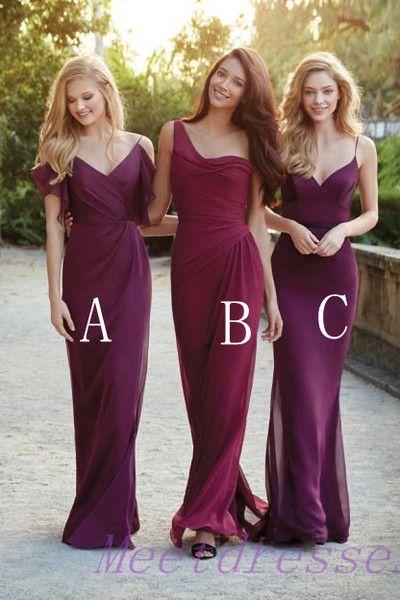 One Shoulder Burgundy Bridesmaid Dresses Beach Summer Grape Bridesmaid Dress With Straps Long Chiffon Dress For Wedding