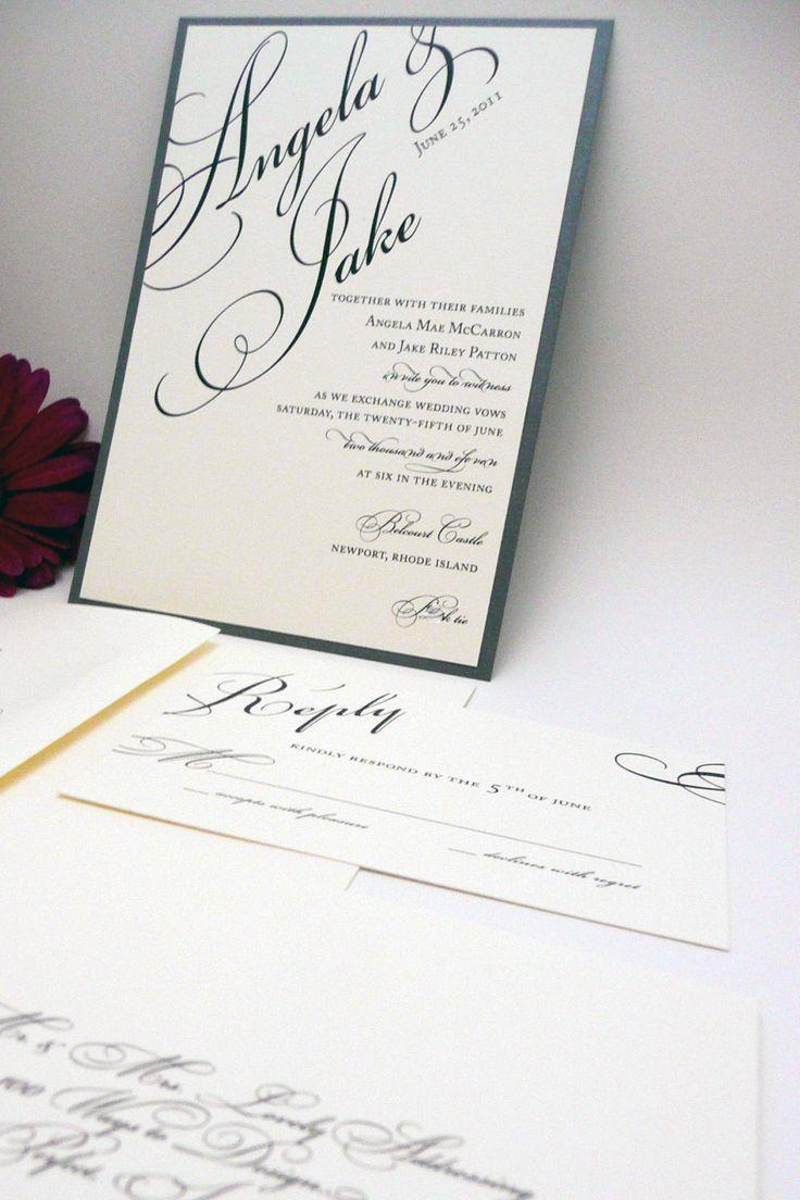 fast shipping wedding invitations%0A Silver Wedding Invitation   Gray Wedding Invitations   Classic Wedding  Invitations   Formal Invites   Layered Once Charmed Invite Sample