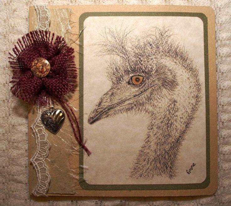 Rustic inspirational Birthday Card. Pencil drawing of an emu. Handmade cotton paper, lace, burlap flower, heart charm, original. OOAK.