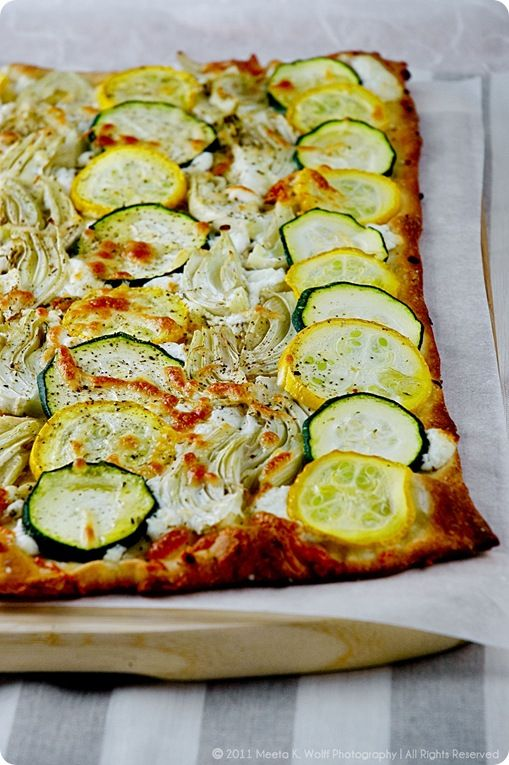 Veggie Tarte Flambee..last time I tried to light liquor on fire I somehow lit the floor..