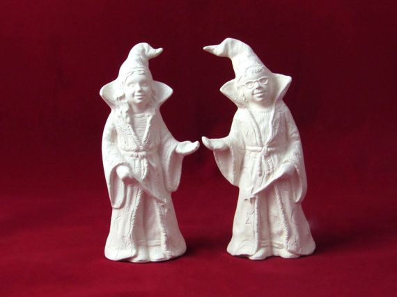 Ceramic Wizard Cake Toppers, ready to paint, hand made, 6 inches