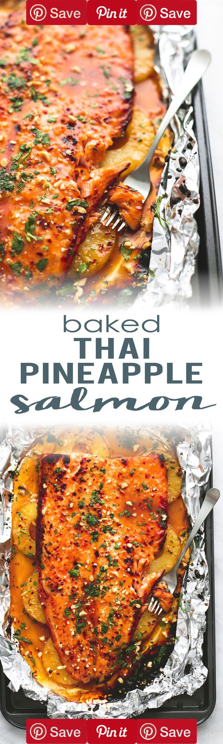Baked Thai Pineapple Salmon in Foil is a delicious, easy, 30-minute meal bursting with flavor!   lecremedelacrumb.com