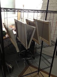 Homemade Storage & Drying Rack using wire shelves and mini bungee cords