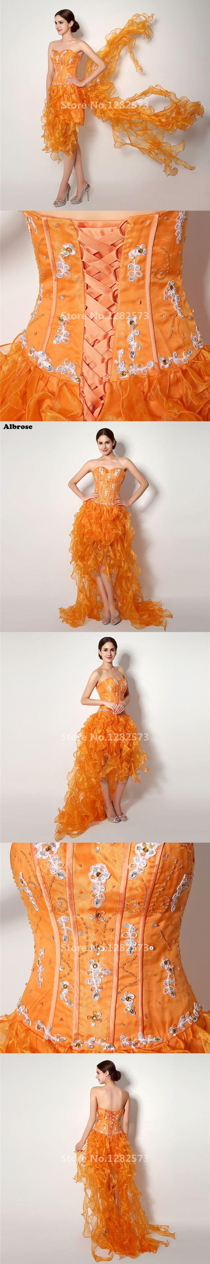 Elegant Organge High Low Evening Dress Organza Ruffles Evening Dresses Long Beaded Sequined Pretty Formal Dress Chic abiye