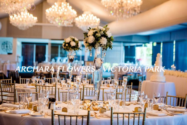 tall floral centrepieces wedding flowers at Victoria Park created by archara flowers