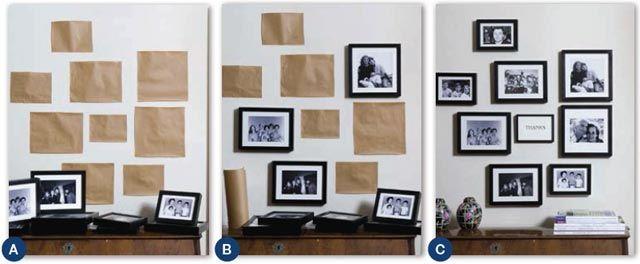 Parete con fotografie di famiglia => http://blog.gromia.it/arredare-una-parete-vuota-10-idee-da-cui-prendere-spunto/