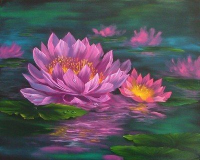 Bob Ross Painting Water Lily | Water Lilies Painting