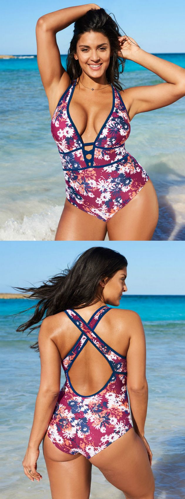 Plunge into summer with Mele. Our Ditsy Daisies print with deep blue piping makes this deep plunging one piece irresistible.