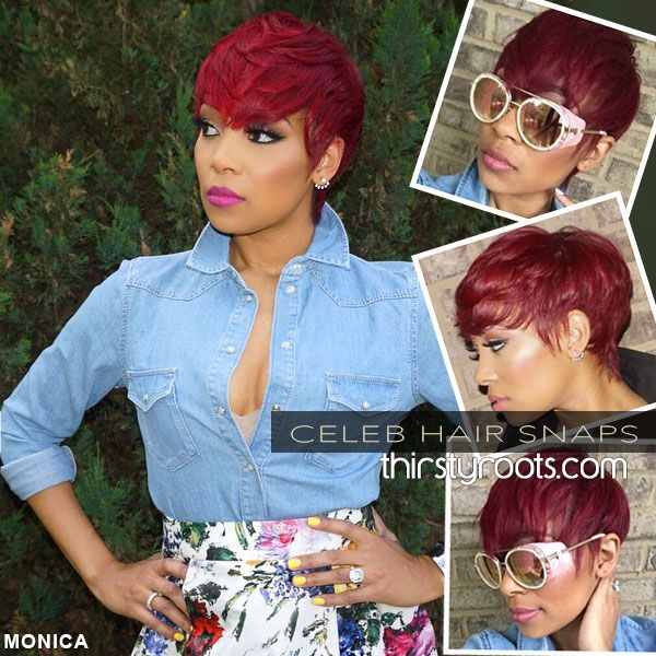 Short Red Haircut For Black Women Monica Brown Celeb
