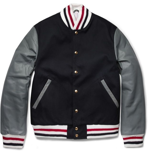 Thom Browne Leather & Cotton Varsity Jacket | @UpscaleHype