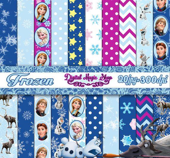 Frozen digital paper - 20 pcs 300 dpi - Anna Elsa Olaf - for Scrapbooking, Cards, Invites, Crafts - Frozen scrapbook - Instant Download