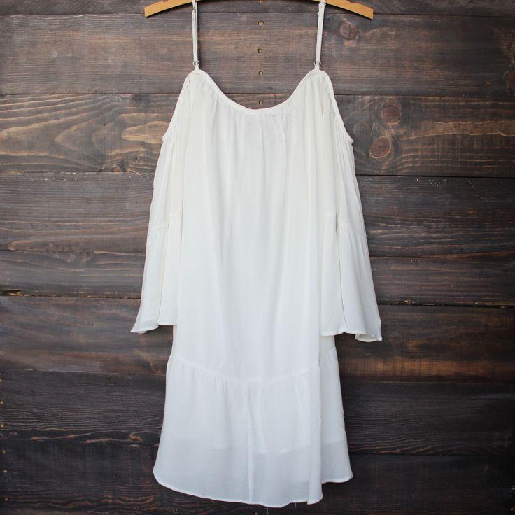 bohemian cold shoulder dress - white