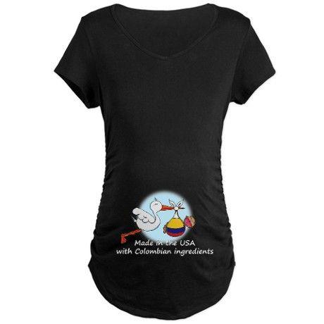 Stork Baby Colombia USA Maternity Dark T-Shirt