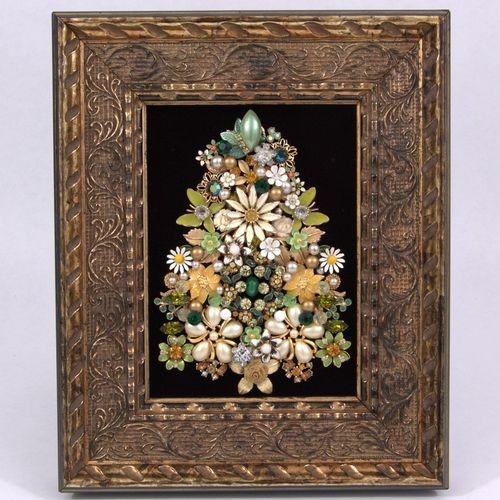 Divine Vintage Floral Jewelry Christmas Tree Framed Art Pin Earring Rhinestone  eBay