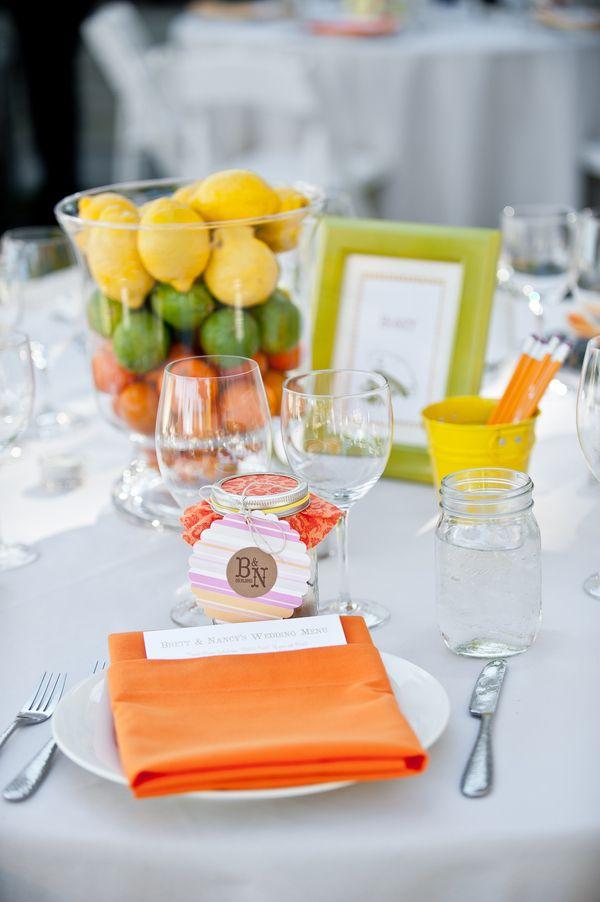 Peppy orange wedding tablescape {Photo by Tia & Claire Studio via Project Wedding via Project Wedding}
