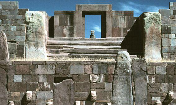 Tiwanaku ancient Incan city near Lake Titicaca
