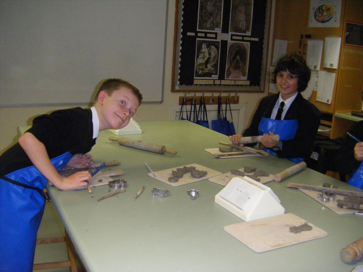 Nathan W and Rohan B hard at work making their clay Christmas Tree decorations
