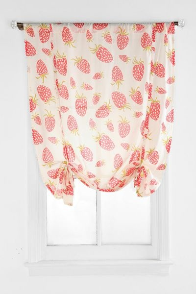 Sweet strawberry print curtains.  These would be cute in the kitchen, an office or kids room!