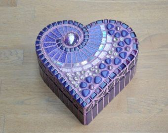 Cuadro en forma de corazón de mosaico de vidrio por mimosaico