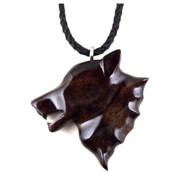 Mens Wolf Pendant Necklace Wolf Jewelry Hand Carved in East Indian... ($31) ❤ liked on Polyvore featuring men's fashion, men's jewelry, men's necklaces, mens pendant necklace, mens necklaces, mens necklace pendants, mens wooden necklaces and mens pendants