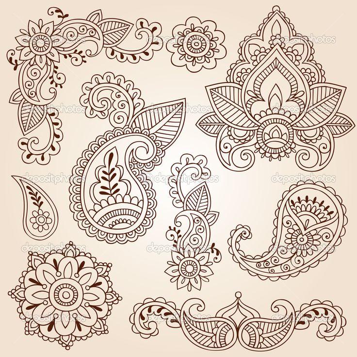 Henna+Mehndi+Paisley+Flowers+Doodle+Vector+Design+Elements+—+Stock+