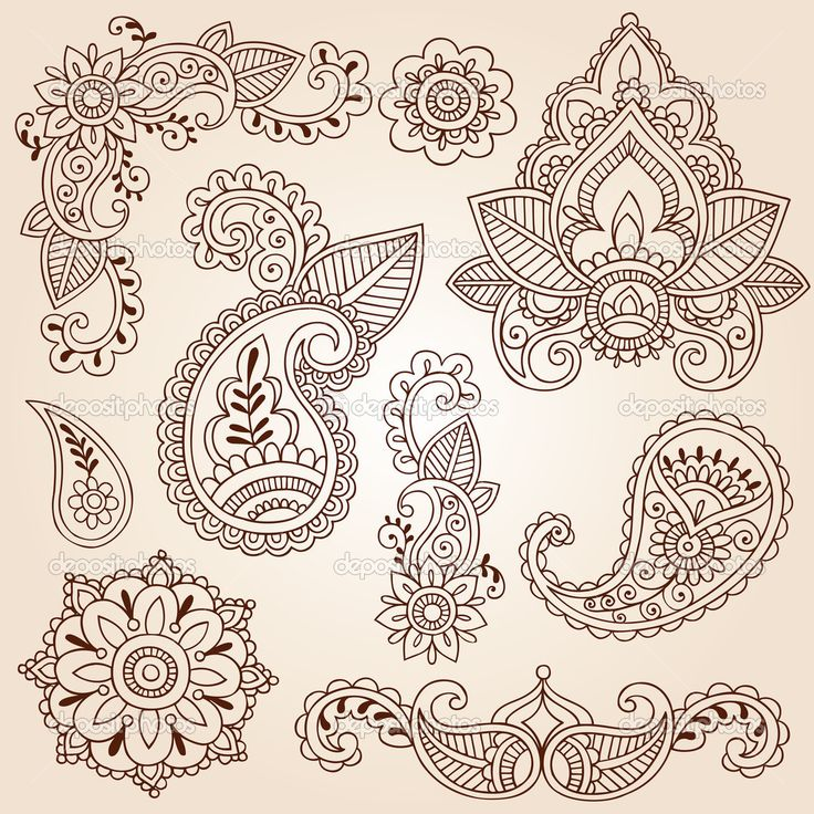 Mandala Flower Tattoo | Henna Mehndi Paisley Flowers Doodle Vector Design Elements | Stock ...
