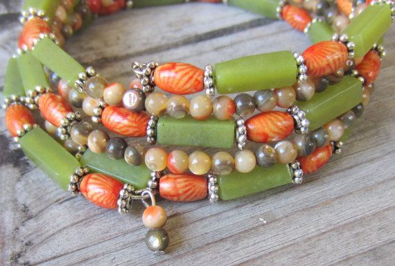Memory Wire Bracelet in Green and Orange, made of Natural Stone and Wood, Wide Cuff, Stacked, Wrap Around Bracelet
