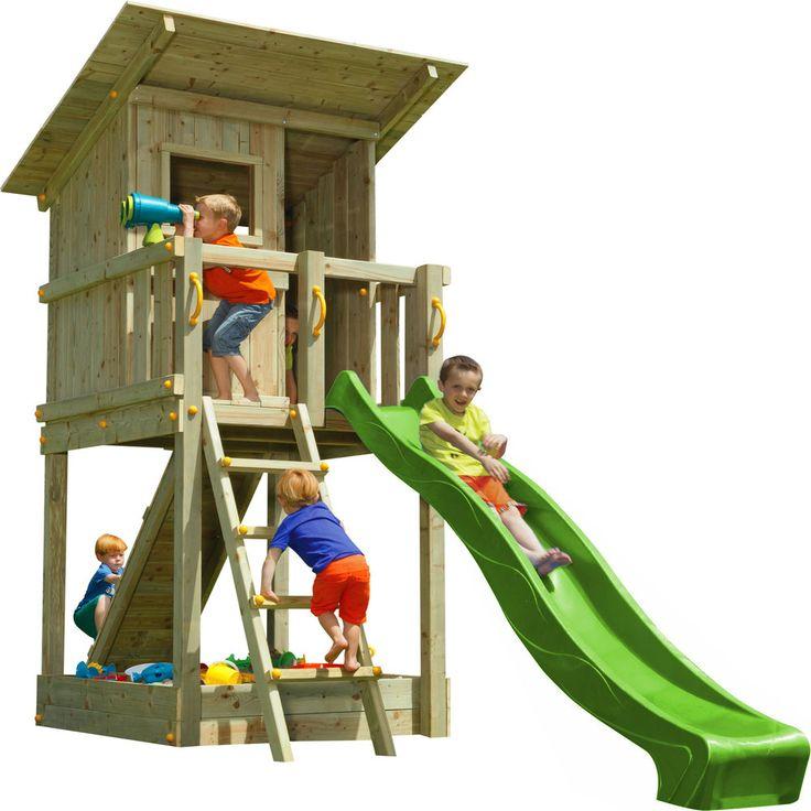Blue Rabbit 2.0 Spielturm BEACH HUT Mit Rutsche + Rampe Mit Seil Spielhaus
